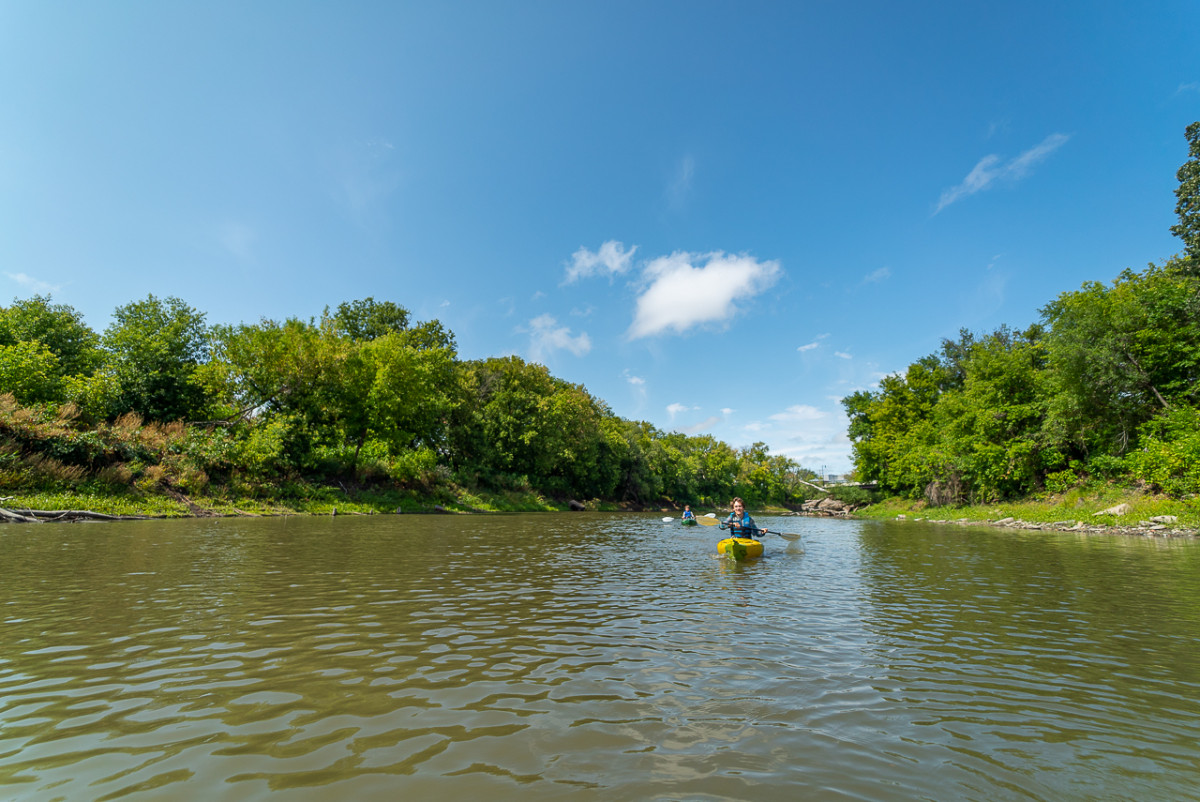 Kayaking on the Red River in Fargo Moorehead