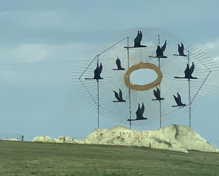 Birds in Flight statue is a North Dakota roadside attraction on Interstate 94