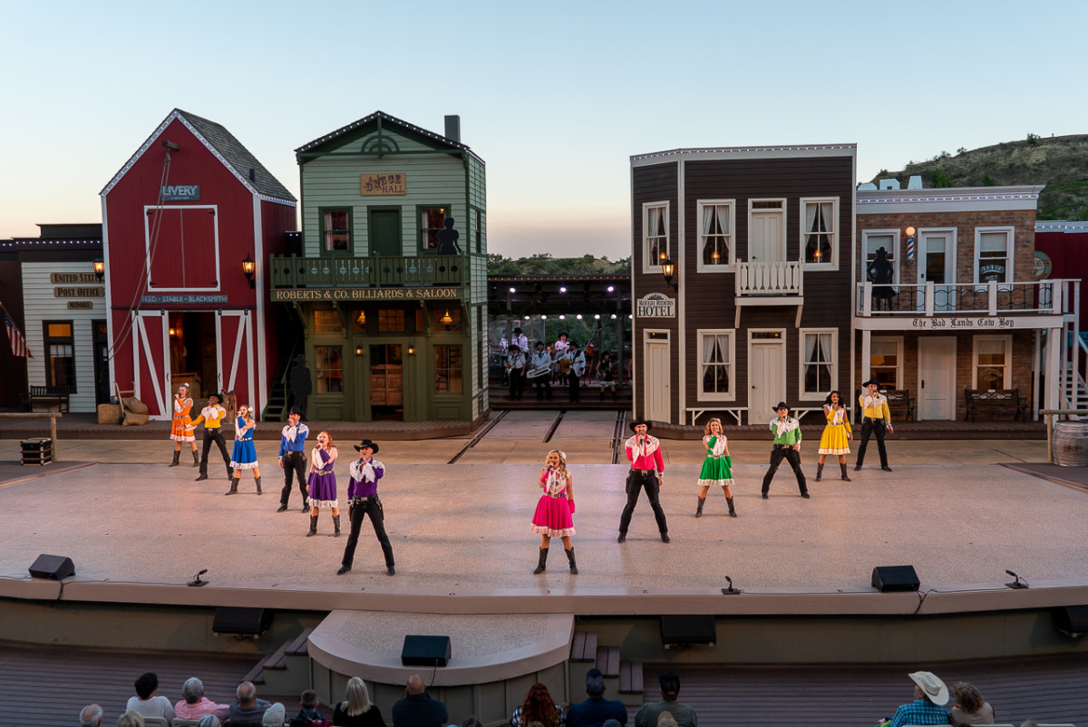 colorful western dancers at the Medora Musical