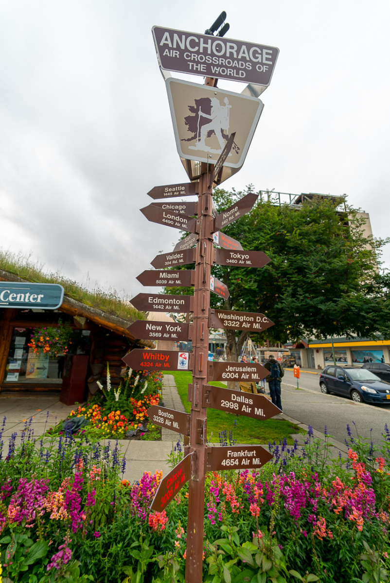 Anchorage Alaska day trips sign with arrows pointing to various locations