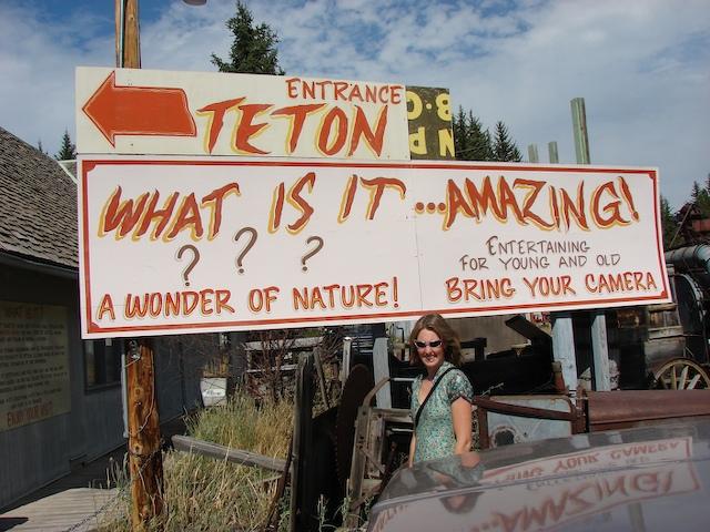 Teton Mystery sign -- the mystery spot