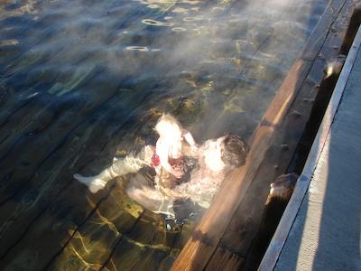 Pool patrons at Norris Hot Springs